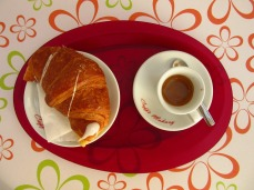Breakfast Color Croissant Colorful Cup Coffee